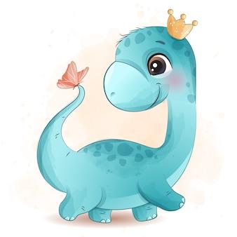 Netter dinosaurier, der mit schmetterlingsillustration spielt