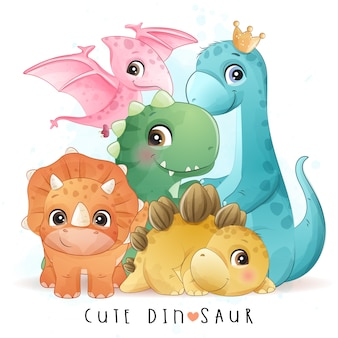 Netter dinosaurier mit aquarellillustration