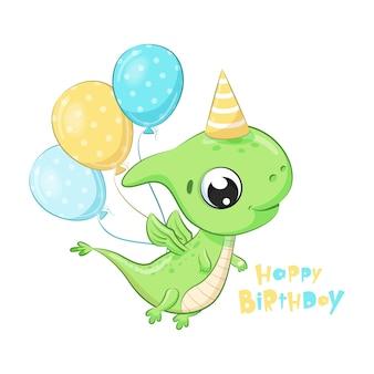 Netter dinosaurier mit luftballons. alles gute zum geburtstag clipart