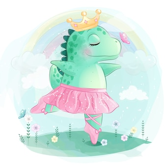 Netter dinosaurier tanzt ballett