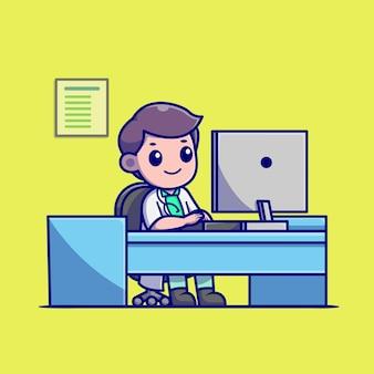 Netter doktor, der an computer-karikatur arbeitet