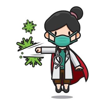 Netter doktor, der corona-virus-zeichentrickfigur trifft