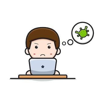 Netter doktor, der mit laptop über viruskarikaturikonenvektorillustration studiert. entwurf getrennt auf weiß. flacher cartoon-stil.
