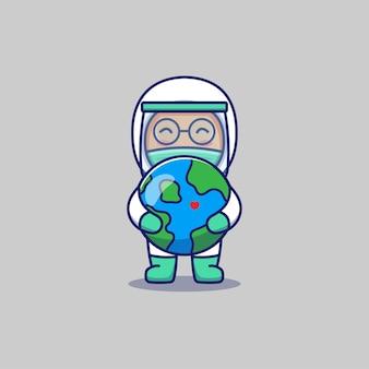 Netter doktor, der planetenerde umarmt