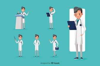 Netter Doktor, der verschiedene Aktionen tut