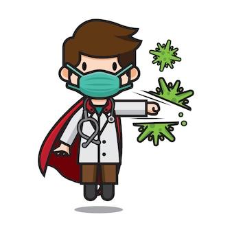 Netter doktor männlich, der corona-virus-zeichentrickfigur schlägt