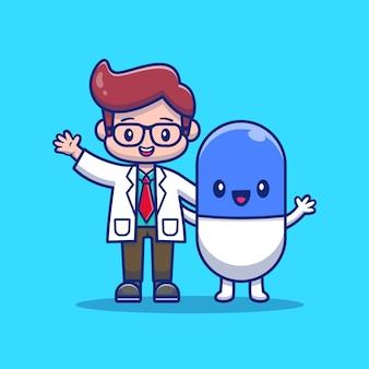 Netter doktor mit kapsel-medizin-karikatur-symbol-illustration. gesundheits- und medizinisches symbolkonzept isoliert. flacher cartoon-stil