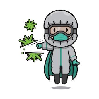 Netter doktor-schutzanzug, der corona-virus trifft
