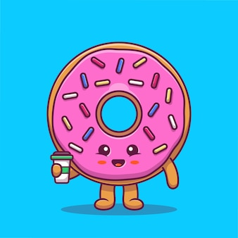 Netter donut, der kaffee-karikatur-symbol-illustration hält. food character icon konzept isoliert premium. flacher cartoon-stil