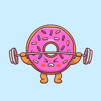 Netter donut, der langhantel-karikatur hebt
