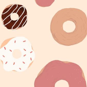 Netter donut gemusterter hintergrundvektor im rosa netten handgezeichneten stil