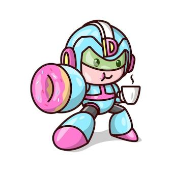 Netter donutman, der sein kostüm trägt und eine tasse kaffee trinkt