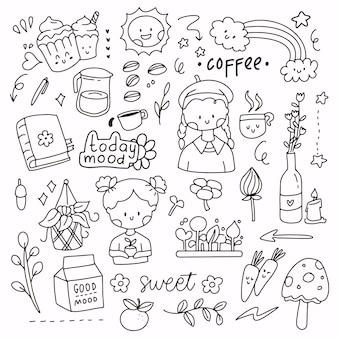 Netter doodle-aufkleber-satz von mix-objekten aus kaffee und gartenarbeit. kleines mädchen, das hut trägt und pflanzen hält. logo-symbol-symbol im strichzeichnungsstil
