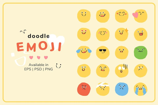 Netter doodle emoticon vektor pack journal sticker
