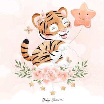 Netter doodle-tiger mit aquarellillustration