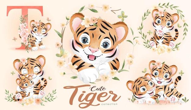 Netter doodle-tiger mit blumenset mit aquarellillustration
