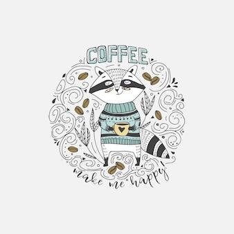 Netter doodle-wanderer mit kaffee-karte