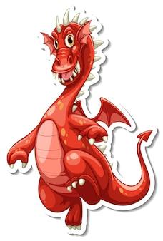 Netter drache-cartoon-charakter-aufkleber