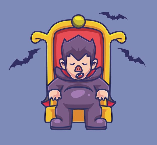 Netter dracula, der schläft. isolierte cartoon-halloween-illustration. flacher stil geeignet für sticker icon design premium logo vektor. maskottchen-charakter