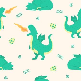 Netter dragon seamless pattern für tapete