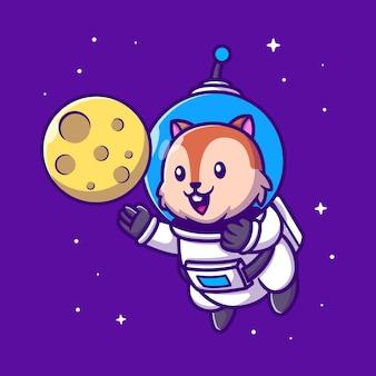 Netter eichhörnchen-astronaut mit mond-cartoon-figur. tierwissenschaft isoliert.