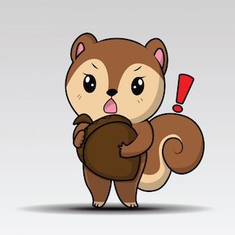 Netter eichhörnchen-karikatur-maskottchen-charakter, der eine eichel hält