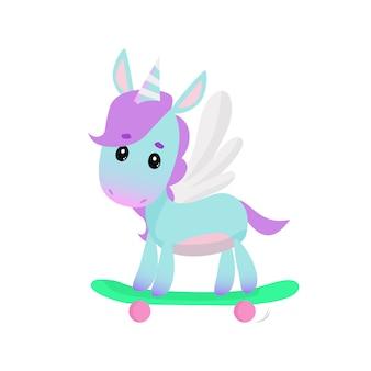 Netter einhorn auf skateboard