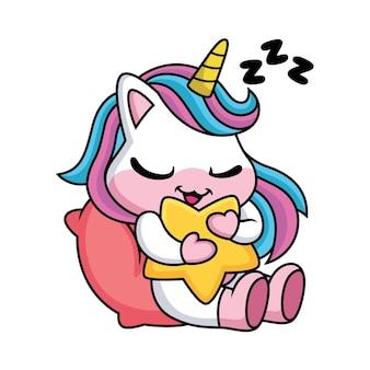 Netter einhorn-cartoon, der mit stern schläft