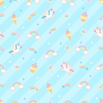 Netter einhorn-illustrations-cartoon mit regenbogen-eis und kuchen nahtlose muster blauem hintergrund