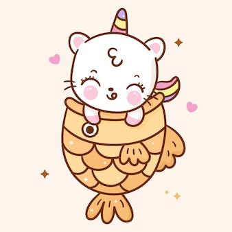 netter einhorn-katzen-cartoon im taiyaki-snack-kawaii-stil