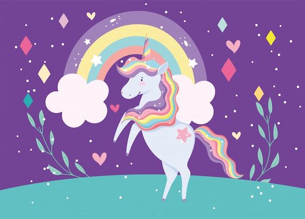 Netter einhorn magische fantasie regenbogen wolken herzen nacht cartoon