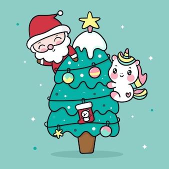 Netter einhorn- und weihnachtsmann-karikatur auf weihnachtsbaum kawaii art