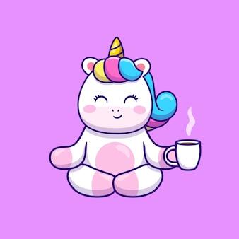 Netter einhorn yoga, der kaffee-karikatur hält