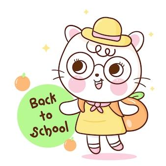 Netter einhornkatzenkarikatur zurück zur schule kawaii hand gezeichnet
