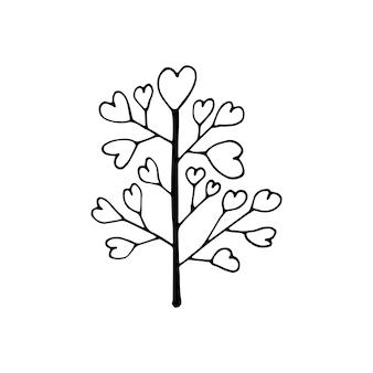Netter einzelner handgezeichneter liebesbaum. doodle-vektor-illustration für hochzeitsdesign, logo und grußkarte. isoliert auf weißem hintergrund.