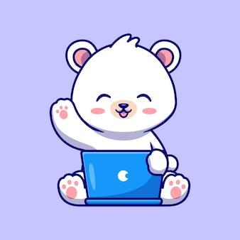 Netter eisbär, der an laptop-karikatur-vektor-symbol-illustration arbeitet. tiertechnologie-symbol-konzept isoliert premium-vektor. flacher cartoon-stil