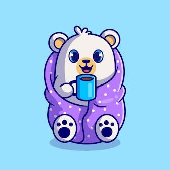 Netter eisbär, der decke trägt und heißen kaffeetassen-cartoon trinkt