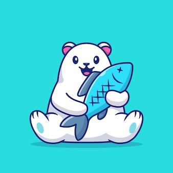 Netter eisbär, der große fisch-symbol-illustration hält. tierliebesikonenkonzept.