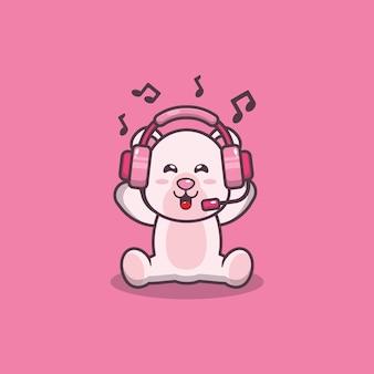 Netter eisbär, der musik mit kopfhörerkarikaturvektorillustration hört