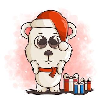 Netter eisbärcharakter auf weihnachtsoutfit mit geschenkboxenillustration