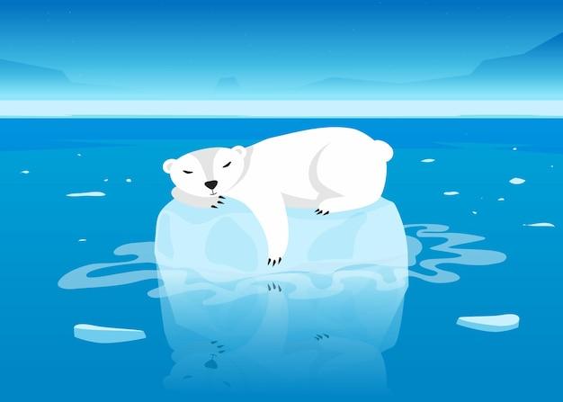 Netter eisbärcharakter, der auf schwimmendem gletscher im ozean schläft. weißes arktisches säugetier, das auf kleinem eisberg in der karikaturillustration des offenen meeres liegt