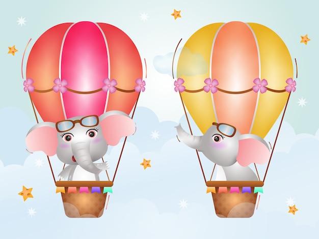 Netter elefant auf heißluftballon