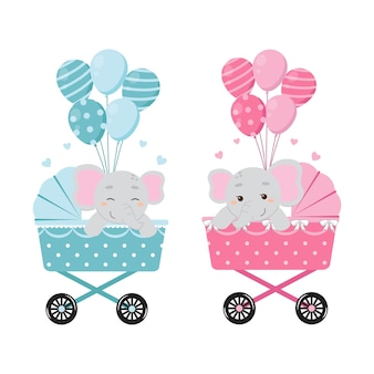 Netter elefant auf kinderwagen mit luftballons babygeschlecht offenbaren jungen- oder mädchenclipart flache vektorkarikatur