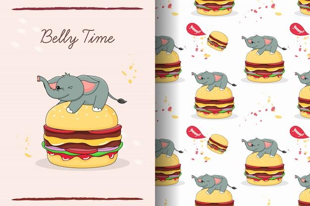 Netter elefant auf nahtlosem muster und karte des burgers