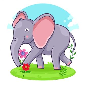 Netter elefant, der auf einer blumenwiese steht.