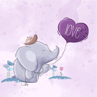 Netter elefant, der ballon hält