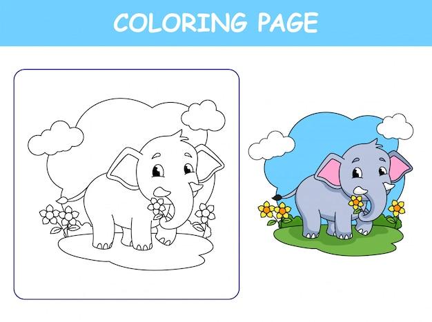 Netter elefant, der blume hält