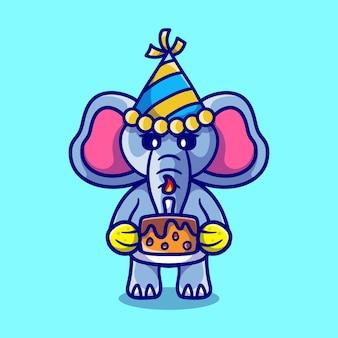 Netter elefant, der ein frohes neues jahr oder geburtstag feiert