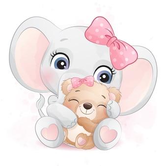 Netter elefant, der eine kleine bärenillustration umarmt