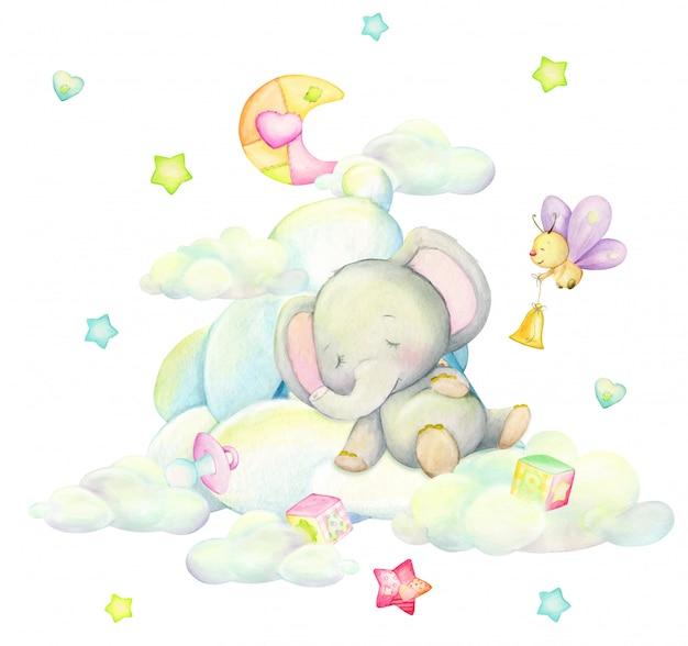 Netter elefant, der in den wolken, vor dem hintergrund des mondes, schmetterlinge, sterne, im karikaturstil schläft. aquarellillustration